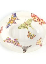 Mackenzie-Childs An indispensable addition in the kitchen or bath, on its own or in a sink set with coordinating tissue box cover, waste bin, and tumbler—mix and match with Courtly Check or Flower Market for a fanciful, fun bath set. Each White Butterfly Garden Soap Dish