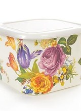 "Mackenzie-Childs Square storage in ever-so-handy sizes, with plastic lids to keep what's inside fresh. (Did someone say ""cookies""?) Color-glazed and decorated with hand-applied fanciful botanical transfers, the White Flower Market Deep Large Squarage Bowl recalls a lush E"