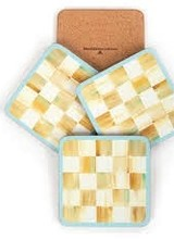 Mackenzie-Childs Parchment Check Coasters