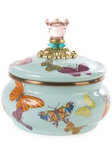 Mackenzie-Childs Let your kitchen take flight! Our Large Sky Butterfly Garden Squashed Pot features a colorful flutter of hand-applied butterflies. Each one shows off a signature MacKenzie-Childs pattern as it flits about. Lidded pieces are topped with glass knobs and bra