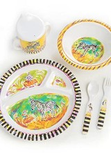 Mackenzie-Childs New! Make mealtime fun with our happy designs. Each Zebra Toddler's Dinnerware Set includes a BPA-free melamine sectional plate, bowl, and two-handled sippy cup, plus a fork and spoon, all nestled in an extra-special matching gift box with latch closure.
