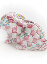 Mackenzie-Childs Quilted Bunny Bank Pink