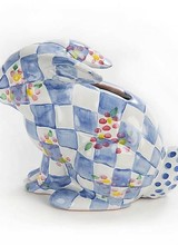 Mackenzie-Childs Quilted Bunny Bank Blue