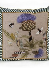 Mackenzie-Childs Thistle & Bee Square Pillow - Large