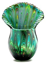 Dynasty Gallery Peacock Tail Vase
