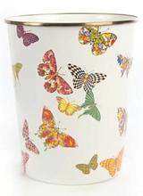 Mackenzie-Childs Butterfly Garden White Waste Bin