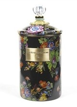 Mackenzie-Childs Flower Market Black Canister with Lid - Large