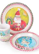 Mackenzie-Childs Cookies and Cheer Set - Santa Plate