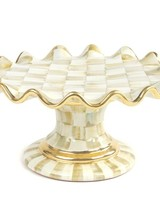 Mackenzie-Childs Parchment Check Ceramic Fluted Cake Stand