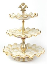 Mackenzie-Childs Parchment Check Three Tier Sweet Stand