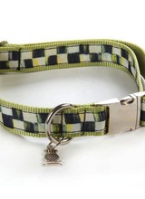 Mackenzie-Childs Give your pet superb style with our Large Courtly Check® Couture Pet Collar. Made of ribbon sewn to chartreuse nylon webbing with chrome buckle and fastener.