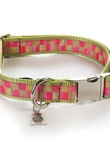Mackenzie-Childs Give your pet superb style with our Large Tulip Check Couture Pet Collar. Made of ribbon sewn to chartreuse nylon webbing with chrome buckle and fastener.