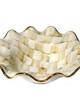 Mackenzie-Childs Our Parchment Check™ Small Serving Bowl brings a warmly elegant attitude to the dinner or buffet table. Each piece is handmade in Aurora of terra cotta, hand-glazed, and hand-painted in color-dragged checks, blending parchment, taupe, gold, and an irrepre