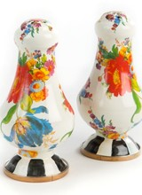 """Mackenzie-Childs New! Bigger isn't always better, but our Flower Market Large Salt & Pepper Shakers sure are fun! Make sure your seasoning supply is up to snuff, because demand will surely be high when calls to """"pass the salt and pepper, please"""" result in the delivery of"""