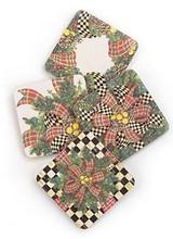 Mackenzie-Childs Evergreen Coasters - Set of 4