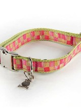 Mackenzie-Childs Give your pet superb style with our Medium Tulip Check Couture Pet Collar. Made of ribbon sewn to chartreuse nylon webbing with chrome buckle and fastener.