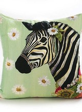 Mackenzie-Childs New! Black and white is anything but boring here at MacKenzie Childs, and the safari Zebra Accent Pillow is no exception. Bring a dash of the Serengeti to the suburbs! Add an adventure with this pillow featuring patterned party animals decked with sunset-