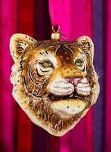 Jay Strongwater Tiger Head Glass Ornament