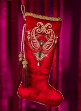 Jay Strongwater Pearl Paisley Stocking