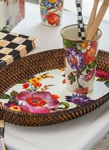 Mackenzie-Childs Flower Market White Small Rattan Tray