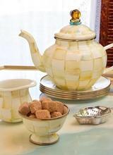 Mackenzie-Childs Parchment Check Enamel Teapot
