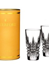 Waterford The Waterford Lismore Diamond Shot Glass pair is part of Waterford Giftology, a collection of Waterford's most popular go-to-gifts in ready-to-give colorful cylinder tins. Celebrate a 21st birthday or cheer someone up with this stunning pair of crystal sh