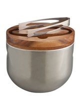 Nambe Made of stainless steel and Acacia wood<br /> 8&quot; L. X 6&quot; W. X 8.25&quot; H.<br /> Bucket: Hand wash; dry immediately<br /> Tongs: Dishwasher safe<br /> Designed by Neil Cohen