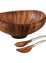 Nambe Butterfly Salad Bowl W/ Servers