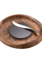 Nambe 14&quot; Acacia wood tray with granite cutting surface<br /> 9&quot; 18/10 stainless steel knife<br /> Hand wash tray/granite; knife is dishwasher safe<br /> Designed by Sean O&#039;Hara