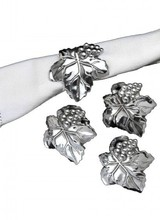 Arthur Court Designs Hold these party necessities firmly in place with Arthur Court&#039;s stylish Grape Napkin Rings. <br /> <br /> Crafted with beautiful definition, each ring in this four-piece set consists of a veiny leaf and a small bundle of grapes. The handmade, sand-cast aluminum glea