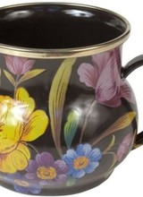 Mackenzie-Childs Set a sunny table in glorious color, fresh from a country garden, with Flower Market Enamel Mugs. The garden-fresh design is color-glazed and hand decorated with floral transfers. Mix and match all three colors—black, green, and white—or pair with Courtly
