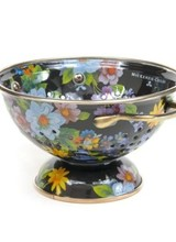 Mackenzie-Childs Give stainless steel's impersonal style and plastic's halfhearted work ethic the pink slip. There's a new sous chef in town! For kitchen preparations with personality, look no further than the Flower Market Small Colander. Fill with veggies grown in your