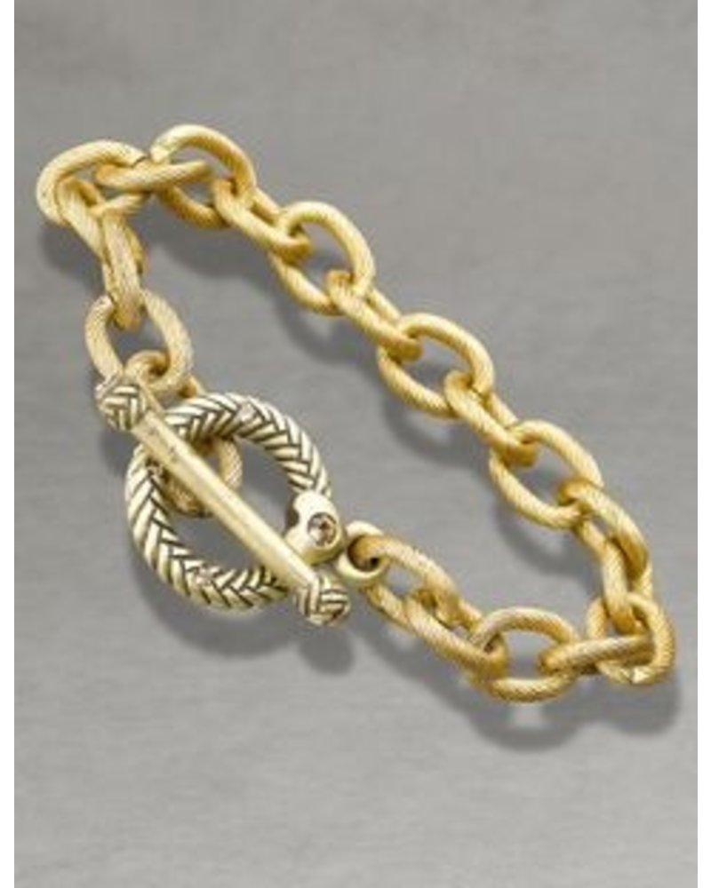Jay Strongwater A handmade chain-link bracelet, finished in textured 18K gold, is the perfect canvas for your favorite charms, with a signature Jay Strongwater ring-and-toggle closure that features hand-set Swarovski® crystals.