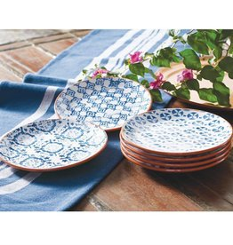 Mud Pie Blue Tile Design Terracotta Plate