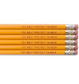 "Frog & Toad Press You Best Protect Ya Neck"" Pencils Set/6"
