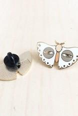 Paper Shuttle White Moth Enamel Pin