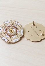 Paper Shuttle Floral Evil Eye Enamel Pin