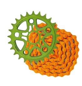Primo Green Sprocket 25T + KMC Single Speed Chain Orange