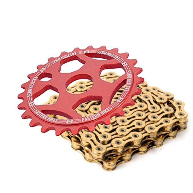 Phorcy Sprocket 25T Red + KMC Z410 Chain Gold