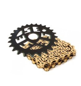 SE Sprocket 25T Black + KMC Z410 Chain Gold