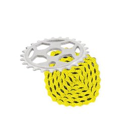 Phorcy Sprocket 25T White + KMC Z410 Chain Yellow