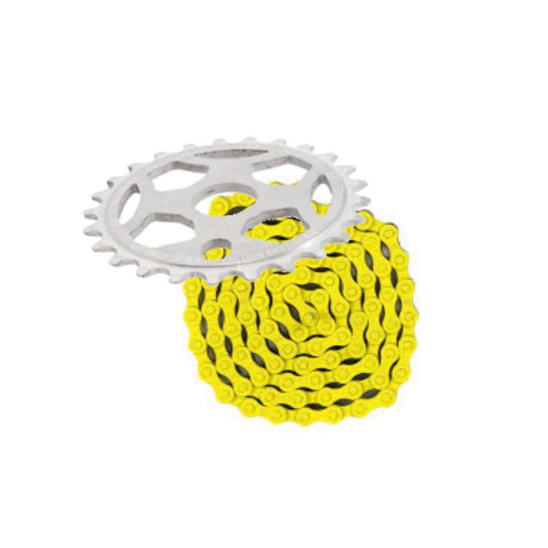 Phorcy Sprocket 25T White + KMC Z410 Chain Yellow