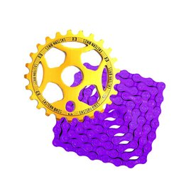 Phorcy Sprocket 25T Gold + KMC Z410 Chain Purple