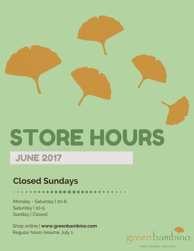 Store hours for June 2017