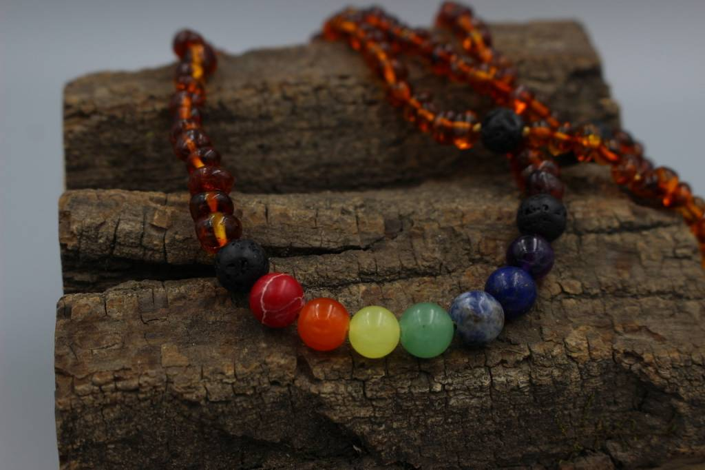 Lemon Vines Adult Chakra Aromatherapy Necklace, Baltic Amber & Gemstone