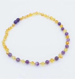 "Lemon Vines 11"" Amber & Gemstone Necklace"