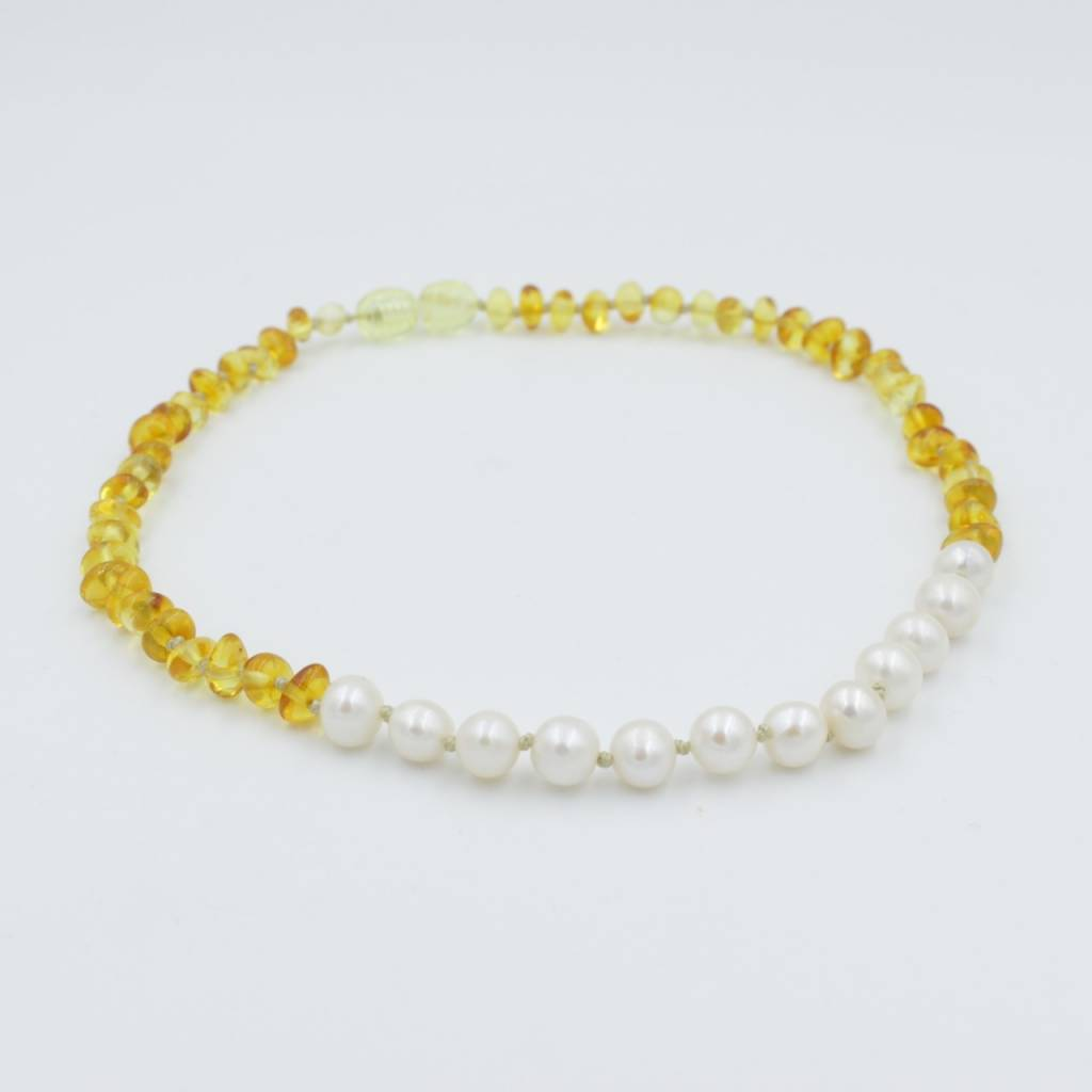 Lemon Vines Lemon Vines Amber & Pearl Neckalce