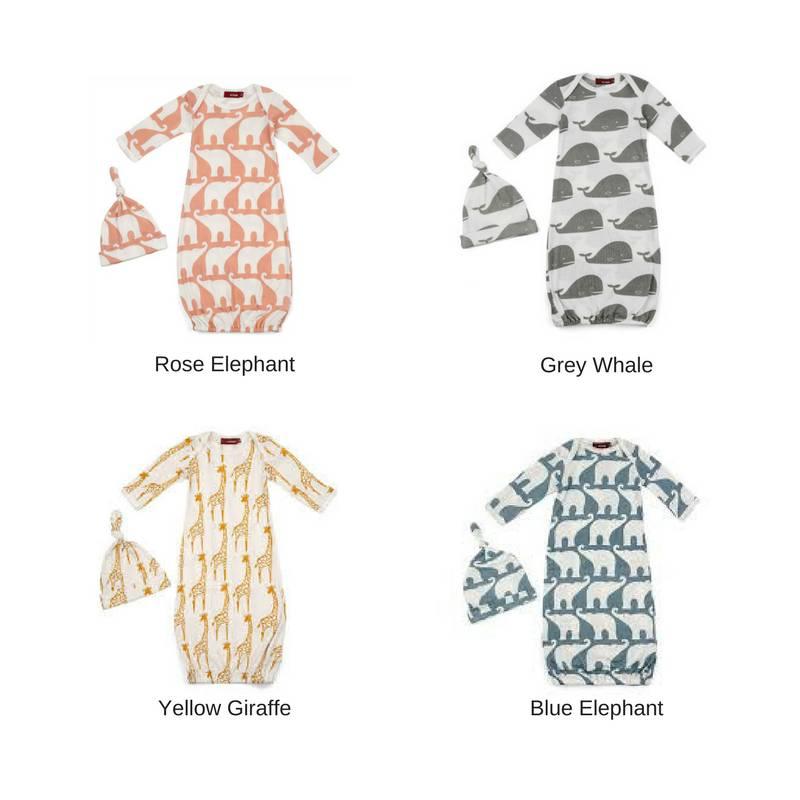 Milkbarn Organic Newborn Gown & Hat Set