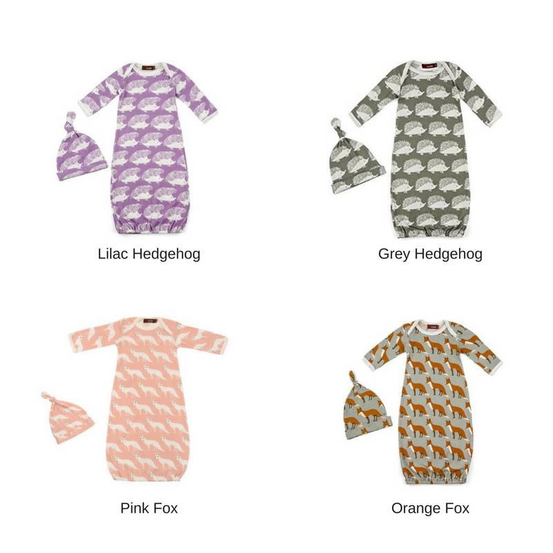 Milkbarn Organic Newborn Gown & Hat Set - Green Bambino