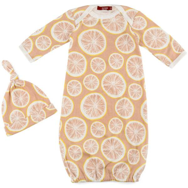 Milkbarn Milkbarn Organic Newborn Gown & Hat Set